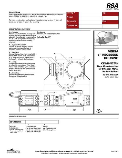 small resolution of cooper lighting cdm6ncmh user s manual
