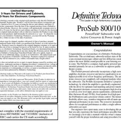 definitive technology prosub 800 1000 user s manual [ 1024 x 791 Pixel ]
