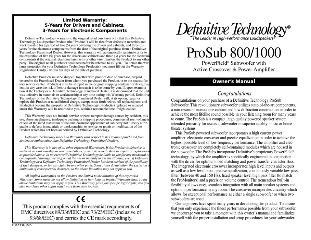 medium resolution of definitive technology prosub 800 1000 user s manual