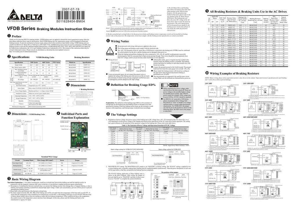 Delta Electronics Braking Modules VFDB Series User manual