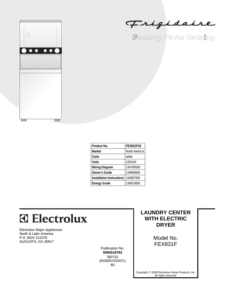 hight resolution of electrolux washer dryer fex831f user s manual product no fex831fs2 market north america color white volts 120 240 wiring