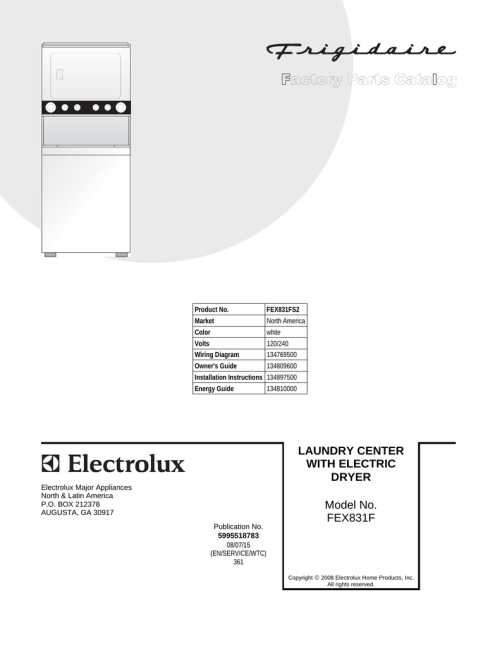 small resolution of electrolux washer dryer fex831f user s manual product no fex831fs2 market north america color white volts 120 240 wiring