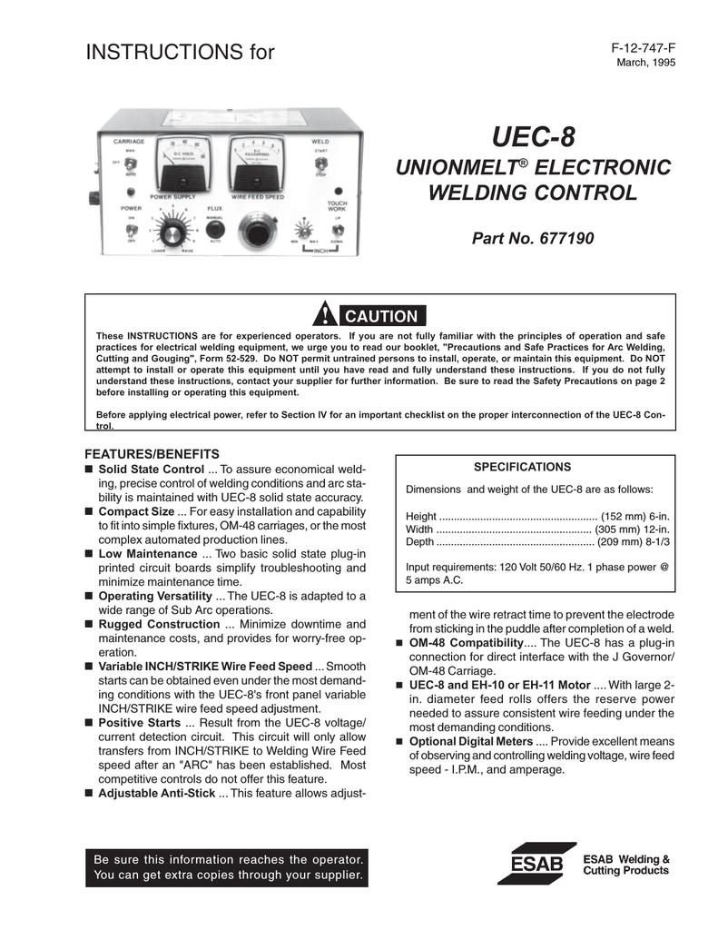 hight resolution of esab welding system part no 677190 user s manual
