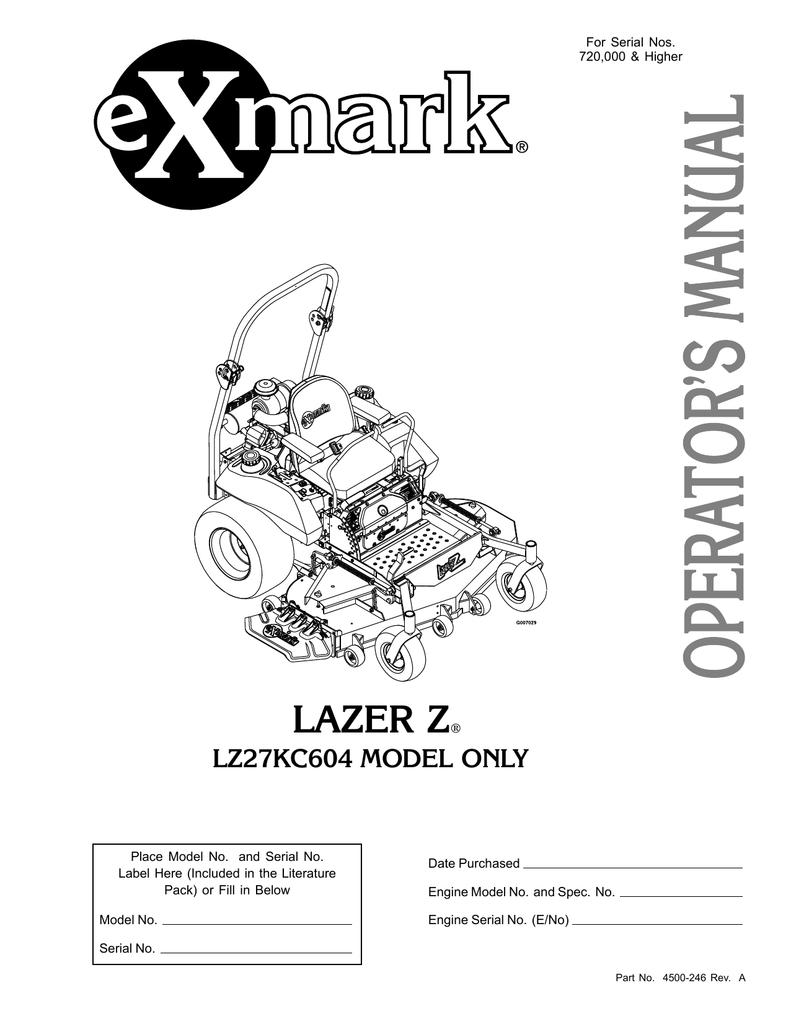 hight resolution of exmark lz27kc604 user s manual