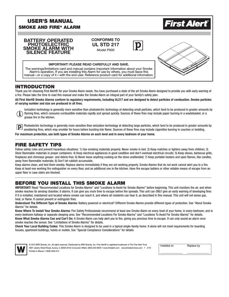 hight resolution of first alert low profile smoke alarm user s manual