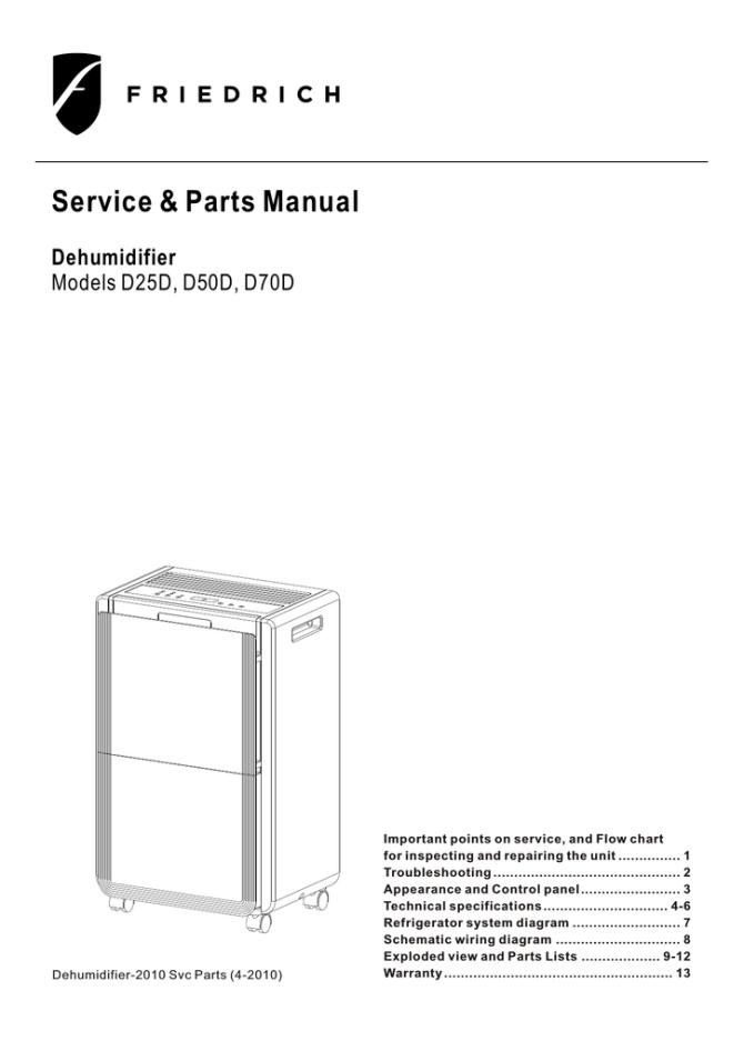 friedrich humidifier d50d d50d d25d d70d owner's manual