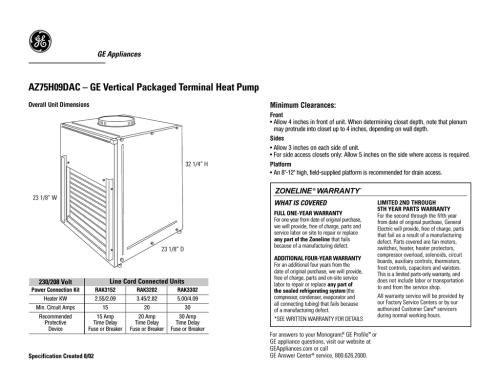 small resolution of ge az75h09dac user s manual