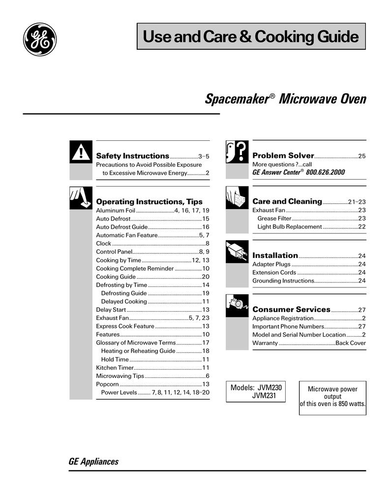 ge spacemaker jvm231 user manual manualzz