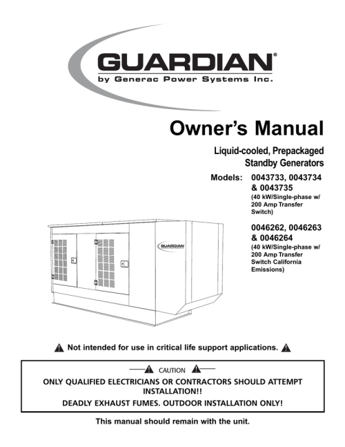 small resolution of generac power systems 43734 user s manual