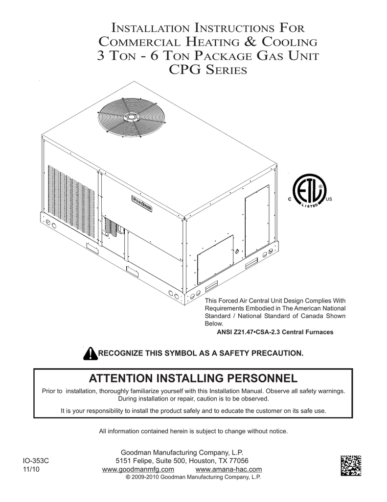 medium resolution of goodman mfg commercial heating and cooling gas unit cpg series user s manual