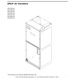 goodman mfg aruf18b14aa user s manual repair parts aruf air handlers  [ 791 x 1024 Pixel ]