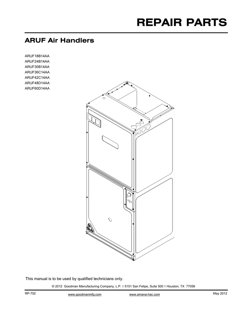 hight resolution of goodman mfg aruf18b14aa user s manual repair parts aruf air handlers