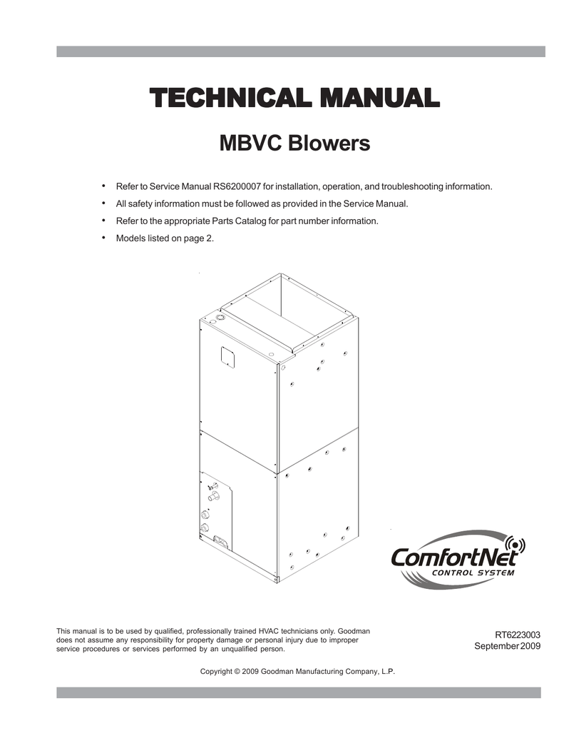 hight resolution of goodman mfg mbvc rt6223003 user s manual