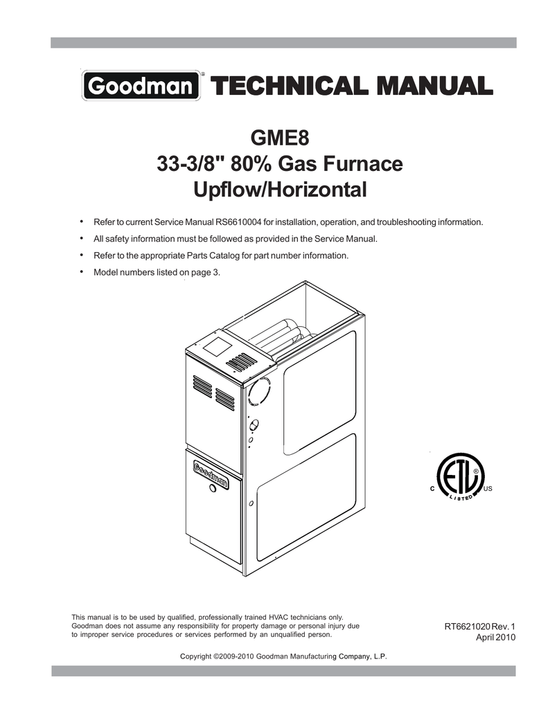 medium resolution of goodman mfg upflow horizontal gme8 user s manual