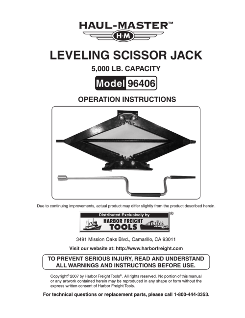 small resolution of harbor freight tools 2 5 ton scissor jack product manual