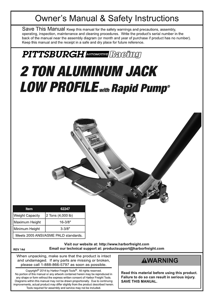 Harbor Freight Tools 2 Ton Aluminum Racing Floor Jack with