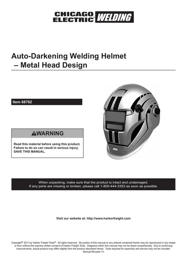 Variable Auto Darkening Welding Helmet
