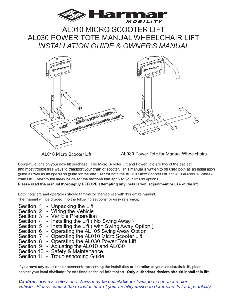 hight resolution of harmar mobility al010 user s manual manualzz com lifts besides harmar wheelchair lift wiring harness on harmar lift