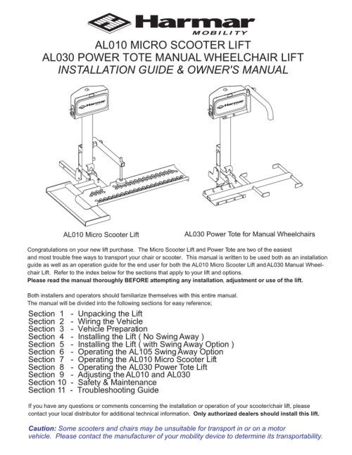 small resolution of harmar mobility al010 user s manual