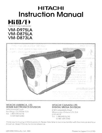 Hitachi VM-D975LA, VMD875LA, VM-D875LA, VM-D873LA
