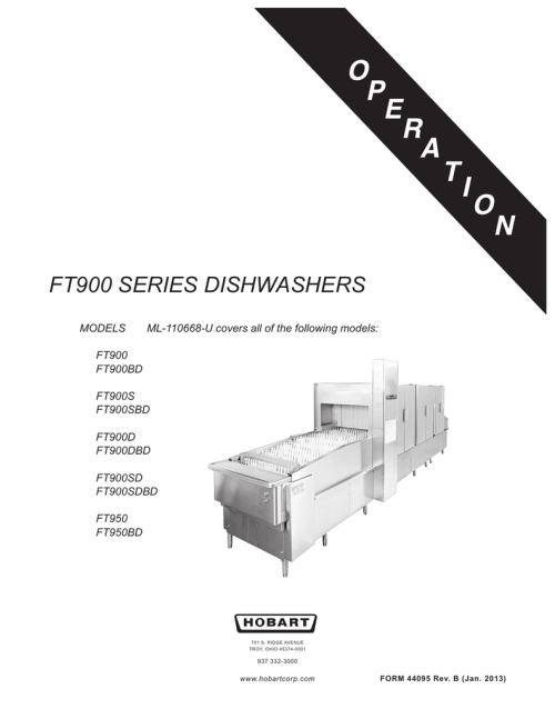 small resolution of hobart corp ft900bd user s manual ft900 series dishwashers