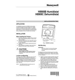 honeywell h8908b humidistat user s manual [ 791 x 1024 Pixel ]