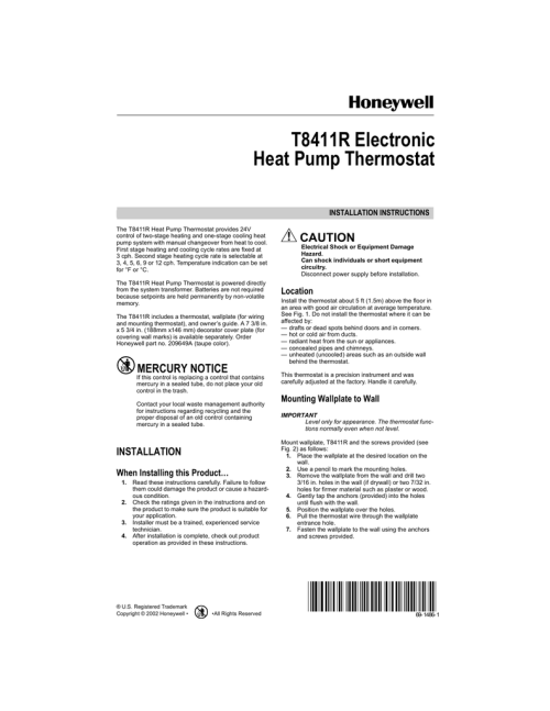 small resolution of honeywell thermostat t8411r wiring diagram