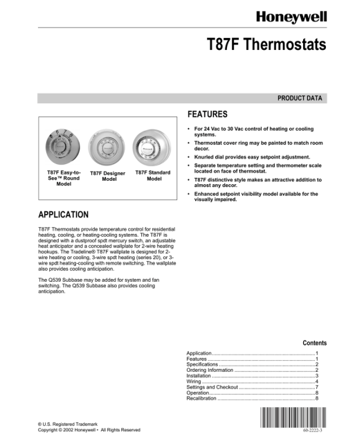 small resolution of honeywell thermostat t87f user s manual manualzz com honeywell th5220d1003 wiring diagram t87f honeywell 2wire diagram