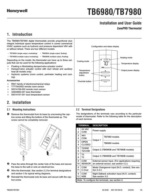 small resolution of honeywell zonepro tb6980 user s manual