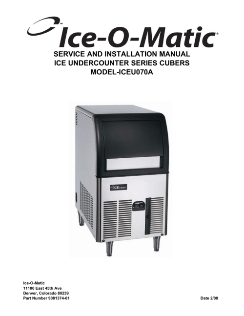 small resolution of ice o matic iceu070a user s manual