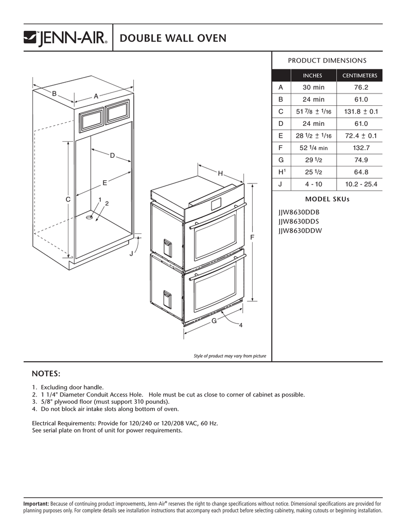 hight resolution of jenn air jjw8630ddb user s manual double wall oven