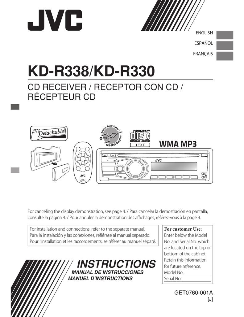 Jvc Kd-r330 Wiring Diagram : kd-r330, wiring, diagram, KD-R330, Manual, Manualzz