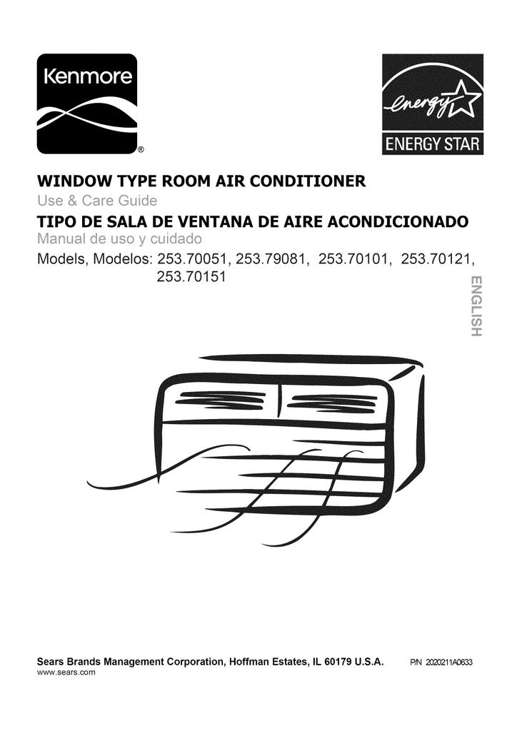 Kenmore 10,000 BTU Room Air Conditioner Owner's Manual