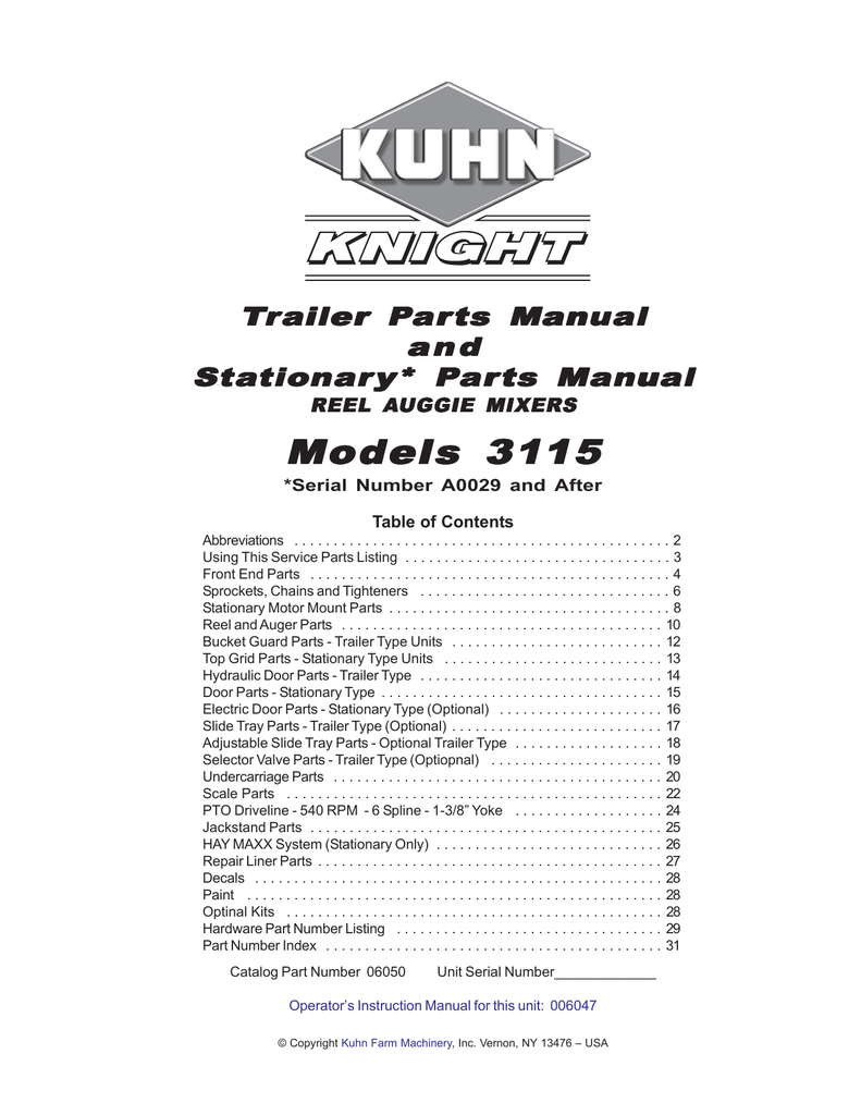 Kuhn Rikon Corp. Utility Trailer 3115 User's Manual