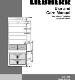 liebherr nofrost combined refrigerator freezer cs 1400 7082 663 00 user s manual [ 791 x 1024 Pixel ]