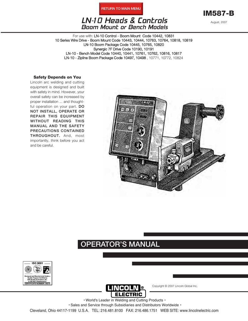 Lincoln Welding Machine Wiring Code Operating Manual