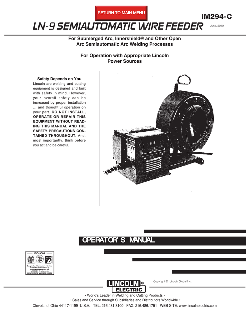 hight resolution of lincoln electric ln 9 user s manual