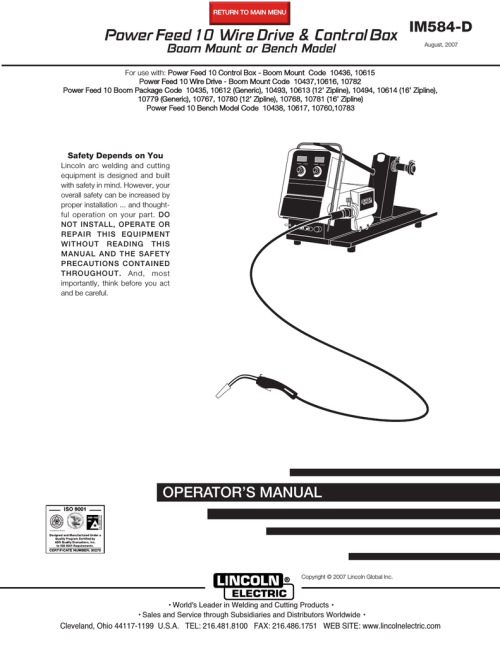 small resolution of lincoln electric im584 d user s manual