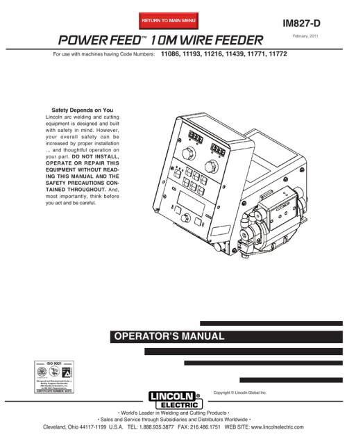small resolution of lincoln electric powerfeed im827 d user s manual