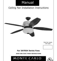 monte carlo fan company 5ayr54 series user s manual owner s manual ceiling fan installation instructions  [ 791 x 1024 Pixel ]