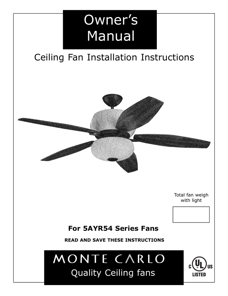 medium resolution of monte carlo fan company 5ayr54 series user s manual owner s manual ceiling fan installation instructions