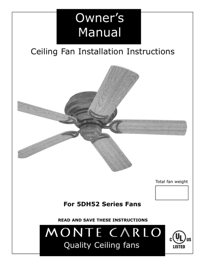 Monte Carlo Ceiling Fan Wiring Diagram