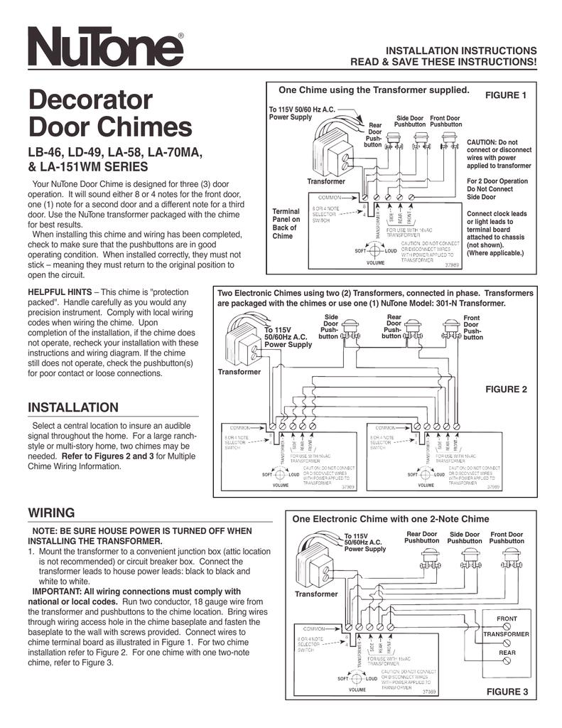 medium resolution of nutone la 151wm user s manual manualzz com nutone intercom parts ld49 nutone door chimes wiring diagram