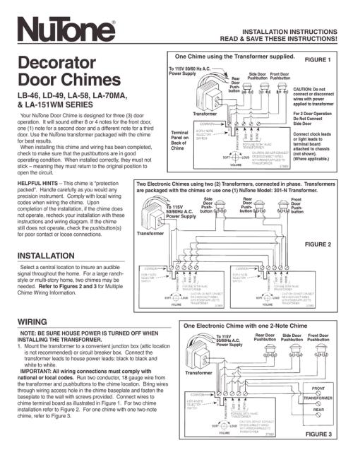 small resolution of nutone la 151wm user s manual manualzz com nutone intercom parts ld49 nutone door chimes wiring diagram