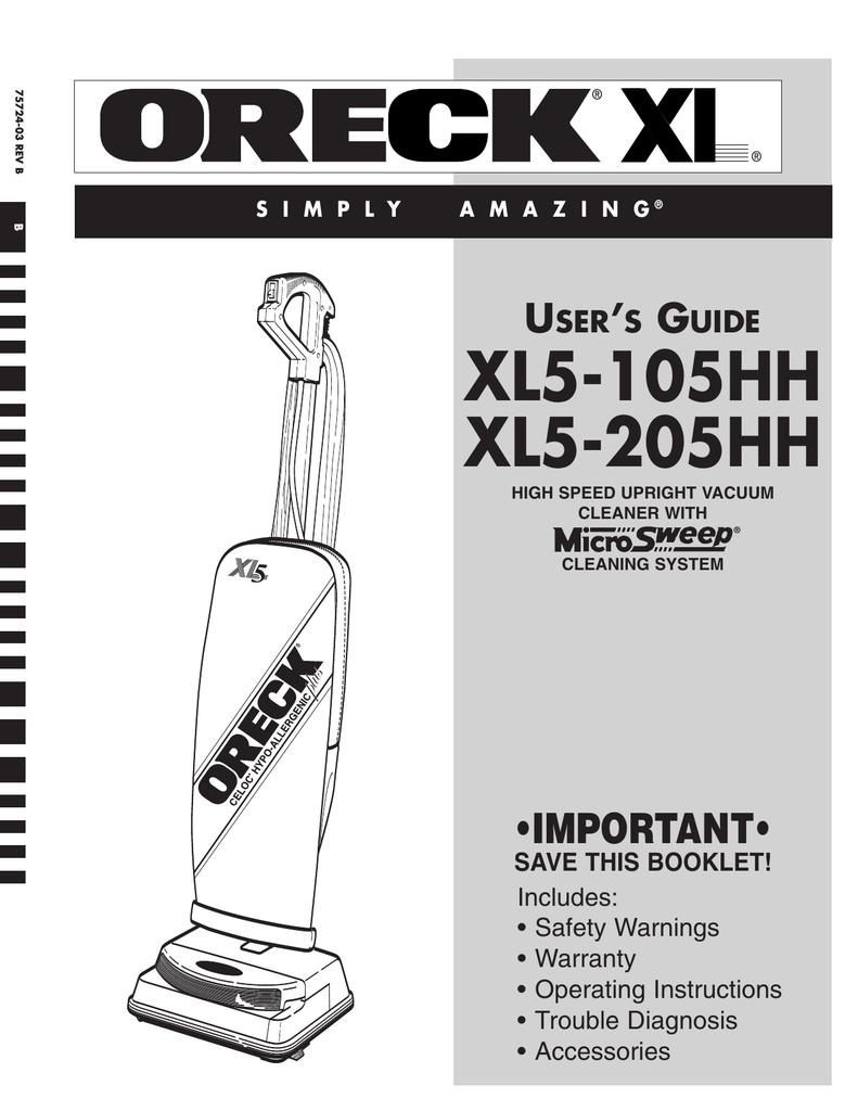 medium resolution of oreck xl5 205hh user s manual