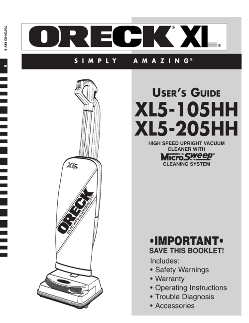 small resolution of oreck xl5 205hh user s manual