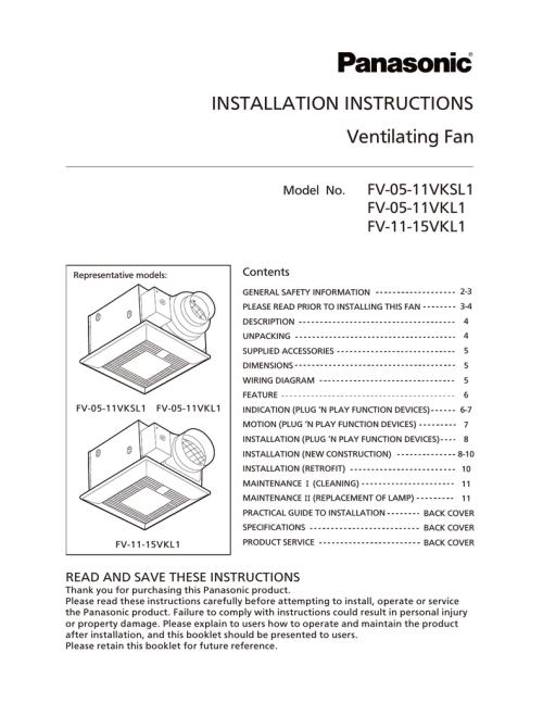 small resolution of diagram fv wiring panasonic 0511vk1 panasonic fv 05 11vk1 installation manual manualzz companasonic fv 05 11vk1 installation manual