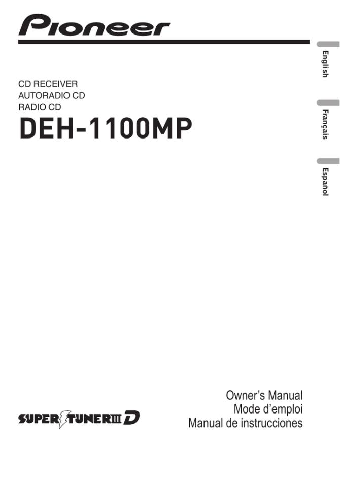 pioneer deh1100mp user's manual  manualzz