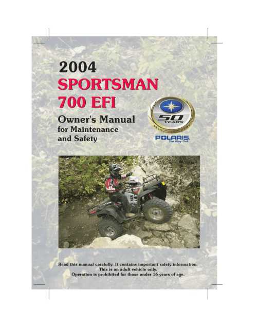 small resolution of polaris sportsman 700 efi user s manual
