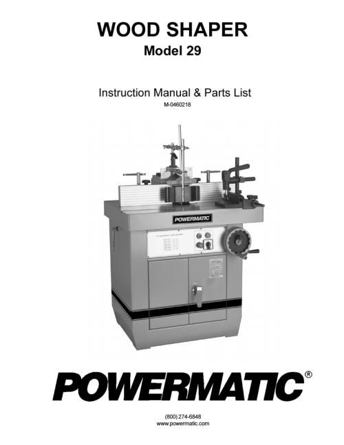 small resolution of powermatic wood shaper 29 user s manual